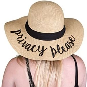 100% Paper straw sun beach Privacy Please  hat